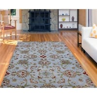 Hand-Tufted Athena Powder Blue Blended New Zealand Wool Rug - 8' x 11'