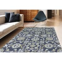 Athena Grey New Zealand Wool Blend Hand-tufted Floral Area Rug (8' x 11')