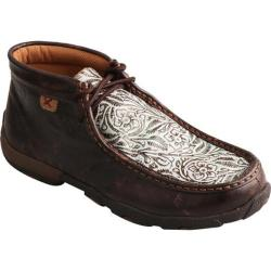 Women's Twisted X Boots Driving Moc Chukka Boot Brown/Turquoise Print Leather
