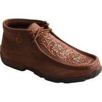 Women's Twisted X Boots WDM0081 Driving Moc Chukka Boot Brown/Tooled Flowers Leather