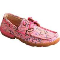 Children's Twisted X Boots YDM0034 Driving Moc Pink Canvas