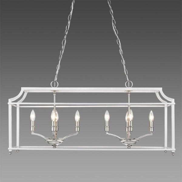 Golden Lighting Leighton White and Pewter Finish Steel Linear Pendant
