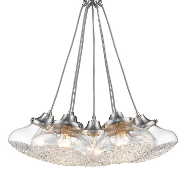 Asha 7 Light Pendant in Pewter with Crushed Crystal Glass
