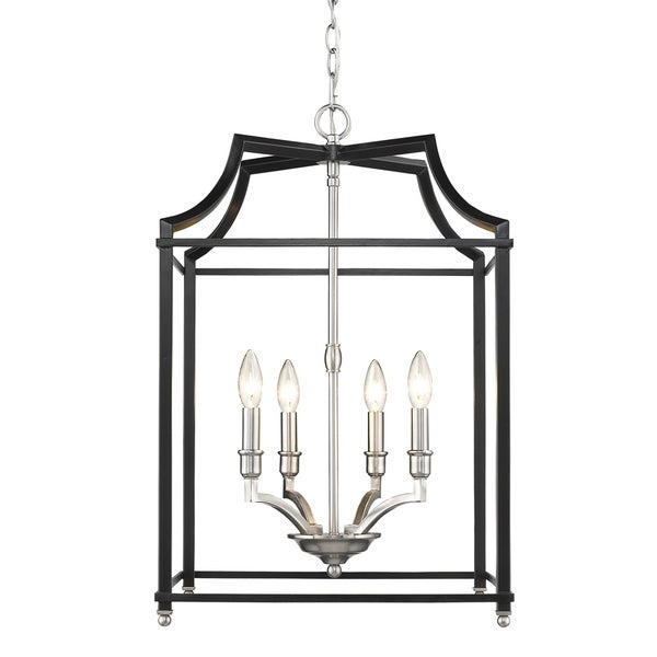 Golden Lighting Leighton Black/Pewter Steel 4-light Pendant
