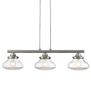 Asha Linear Pendant in Pewter with Crushed Crystal Glass