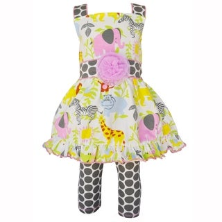 AnnLoren Girls Jungle Animals Dress & Polka Dot Leggings Outfit