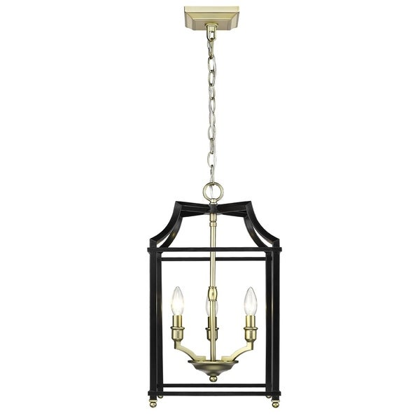 Golden Lighting Leighton Satin Brass/Black Steel 3-light Pendant