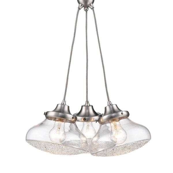 Asha 3 Light Pendant in Pewter with Crushed Crystal Glass