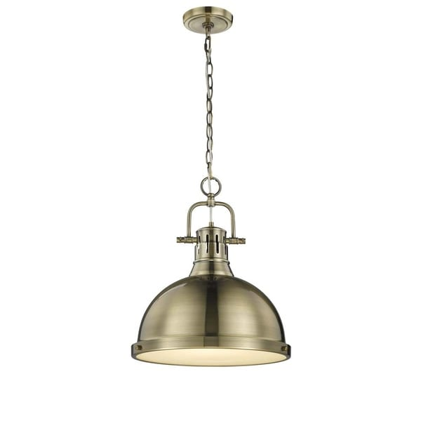 Duncan 1 Light Pendant with Chain in Aged Brass with a Aged Brass