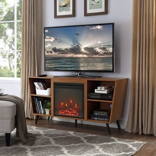 Mid-Century Modern 52-inch Angled Side Fireplace TV Stand