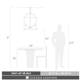 Leighton SB 6 Light Pendant in Satin Brass with Black