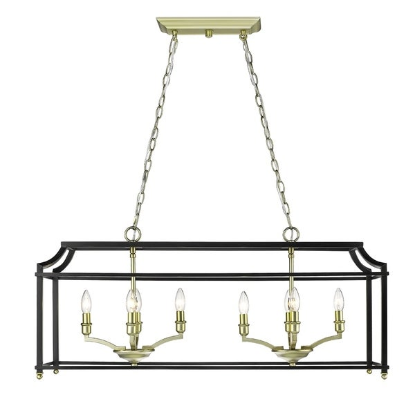 Golden Lighting Leighton Black/Satin Brass Linear Pendant
