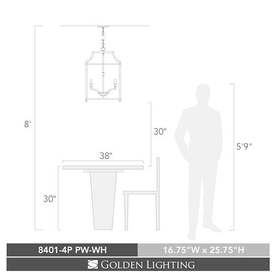 Leighton PW 4 Light Pendant in Pewter with White