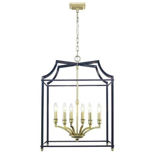 Leighton Satin Brass/ Navy Steel Pendant Light