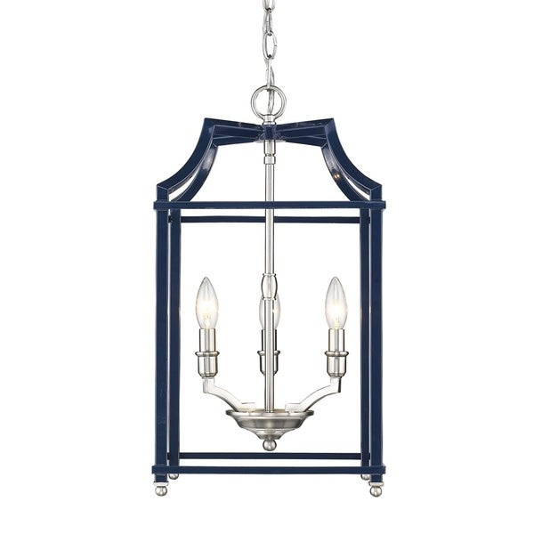 Leighton PW 3 Light Pendant in Pewter with Navy