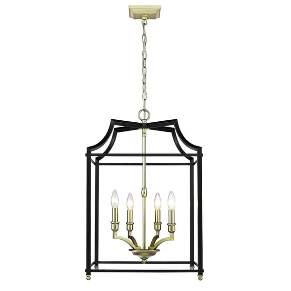 Golden Lighting Leighton Black/Satin Brass Steel 4-light Pendant