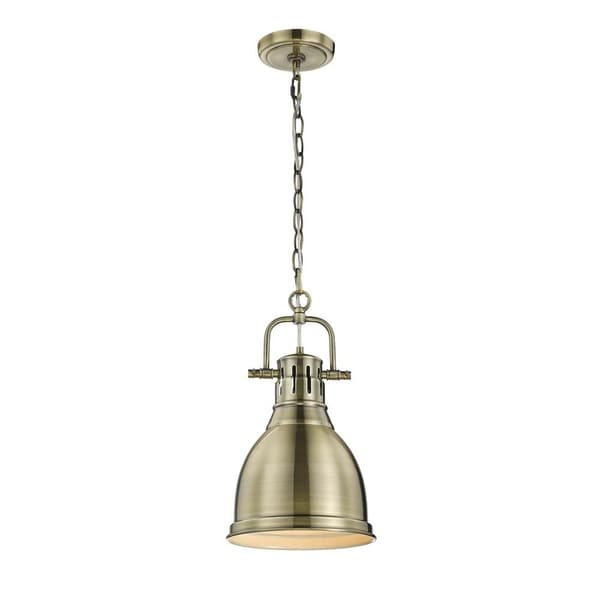 Duncan Mini Pendant with Chain in Aged Brass with an Aged Brass Shade