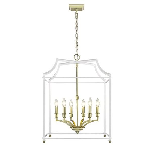 Golden Lighting Leighton Satin Brass/White 6-Light Pendant