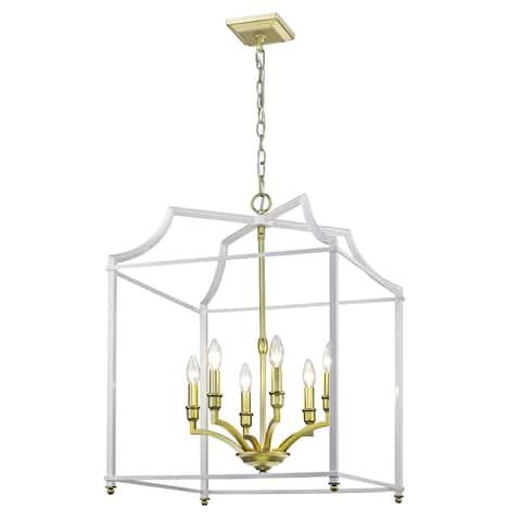 Leighton SB 6 Light Pendant in Satin Brass with White