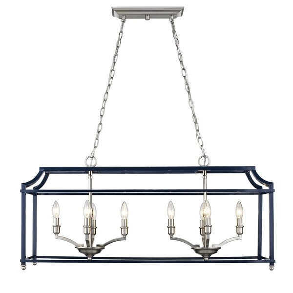 Golden Lighting Leighton 8-light Navy and Pewter Finish Steel Linear Pendant