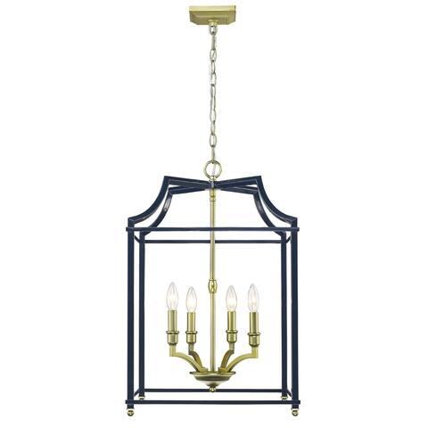 Golden Lighting's Leighton SB 4 Light Pendant #8401-4P SB-NVY