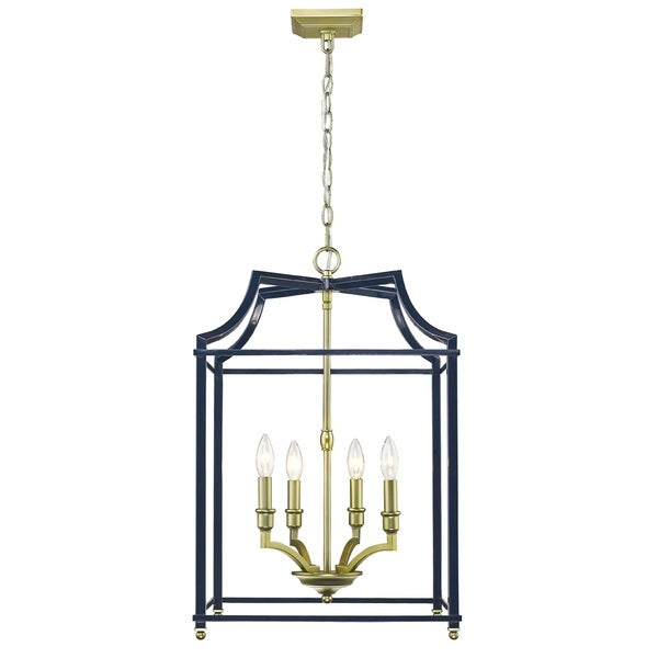 Golden Lighting's Leighton SB 4 Light Pendant #8401-4P SB-NVY