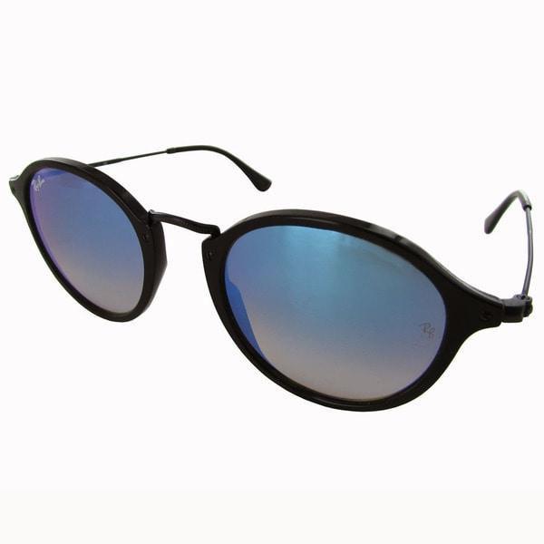 e22c4f5a07 Ray-Ban Round Fleck RB2447 Mens Black Frame Blue Lens Sunglasses