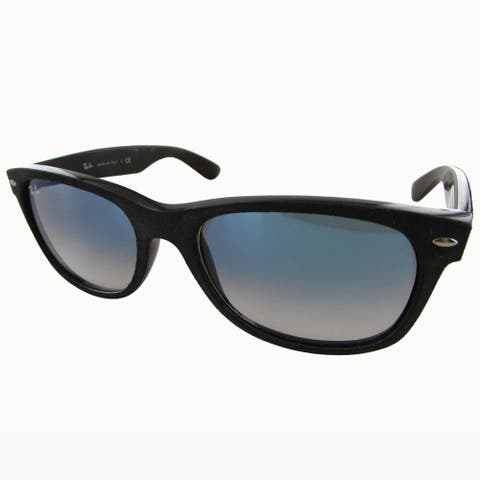 Ray-Ban New Wayfarer with Alcantara RB2132 Mens Black Frame Light Blue Gradient Lens Sunglasses