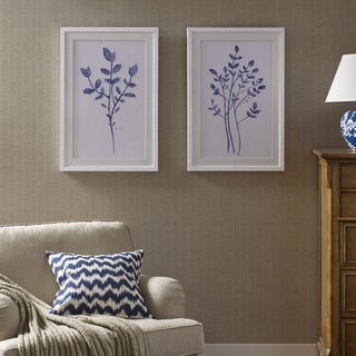 Harbor House Embroidered Florals Blue Framed with White Solid Wood Frame 2PC Set