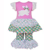 AnnLoren Girls Pink Easter Bunny Gingham Tunic and Capri Outfit