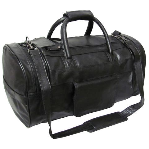 Amerileather Black Leather 20-inch Carry On Dual-zippered Duffel