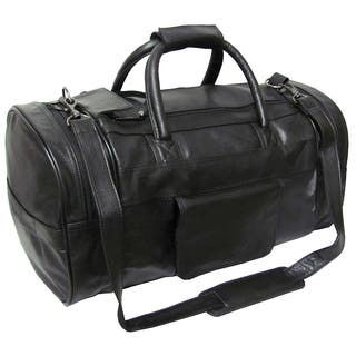 Amerileather Black Leather 20-inch Carry On Dual-zippered Duffel|https://ak1.ostkcdn.com/images/products/19716/P904701.jpg?impolicy=medium