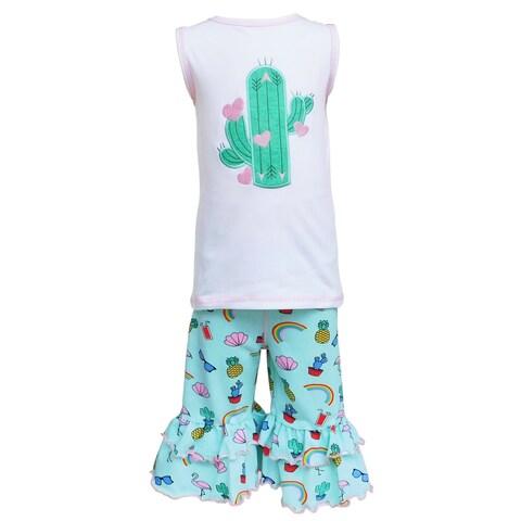 AnnLoren Girls Boutique Cactus Rainbows Tunic & Tropical Capri Set