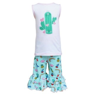 AnnLoren Girls Boutique Cactus Rainbows Tunic & Tropical Capri Set