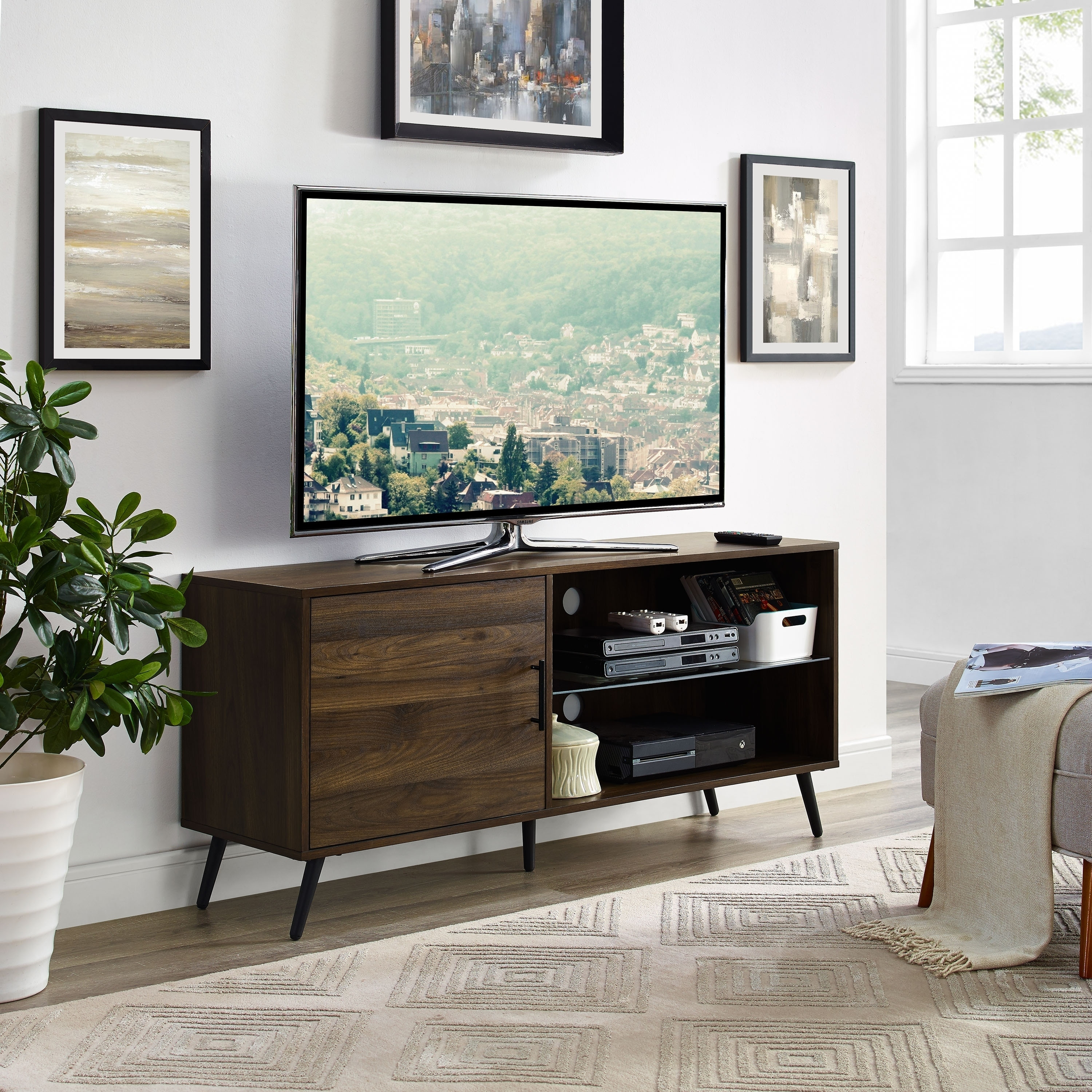 Shop 52 mid century modern tv stand media console with hidden storage free shipping on orders over 45 overstock com 19720247