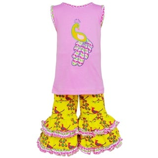 AnnLoren Girls Boutique Pink & Yellow Peacock Tunic & Capri Outfit