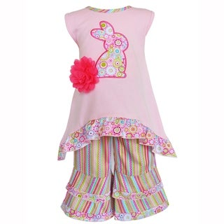 AnnLoren Girls Pink Easter Bunny High Low and Striped Capri Outfit