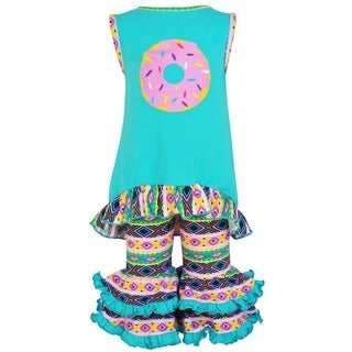 AnnLoren Girls Boutique Pink & Blue Donuts High Low Tunic Capri Outfit