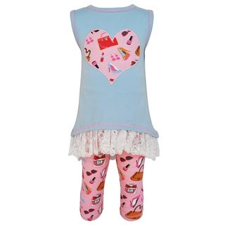 AnnLoren Girls Cotton High Low Makeup Heart Tunic & Legging Set