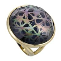 Polished Rock Candy  Yellow Gold Quartz Mother of Pearl and Onyx Ring