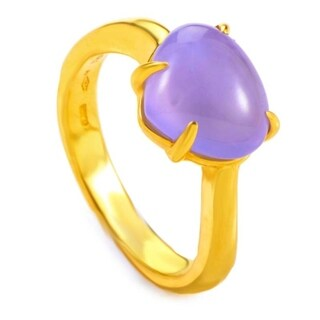 Yellow Gold Purple Chalcedony Ring AN856046