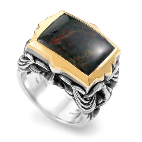 Stephen Webster London Calling Silver & Yellow Gold Bloodstone Gargoyle Ring