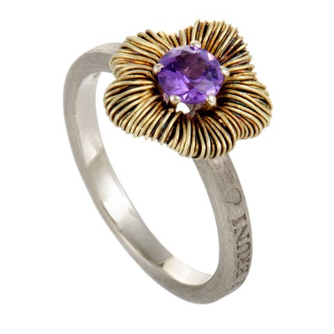 Penelope Petite Yellow Gold and Silver Amethyst Ring