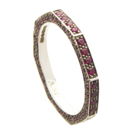 Stephen Webster Deco Women's White Gold Ruby Pave Octagonal Band Ring