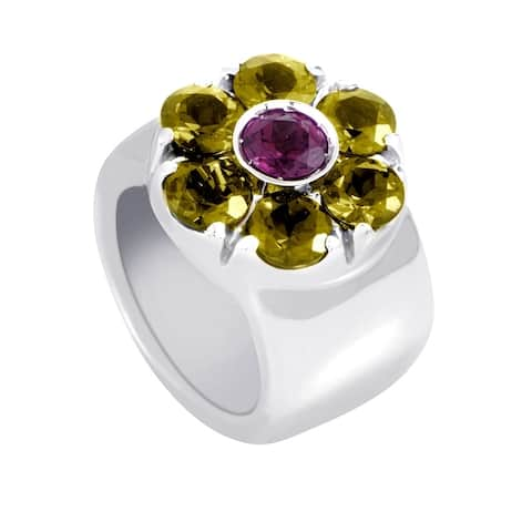 Pasquale Bruni White Gold Tourmaline & Peridot Flower Band Ring