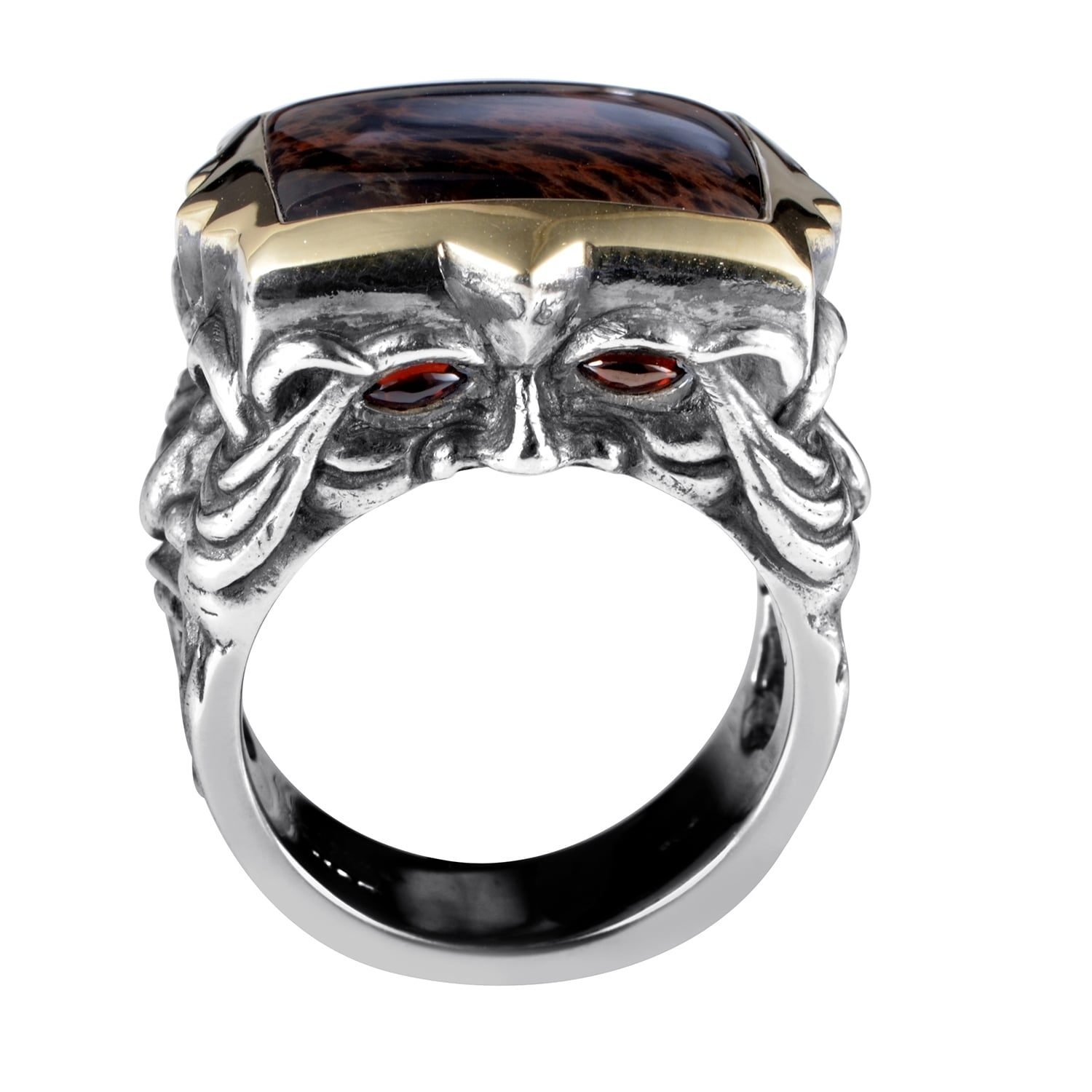 Stephen Webster London Calling Silver Yellow Gold Spiderman Jasper And Garnet Ring