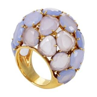 Capri Women's Yellow Gold Chalcedony Bombe Ring