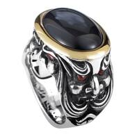 Stephen Webster Sterling Silver & Yellow Gold Black Jade and Garnet Ring
