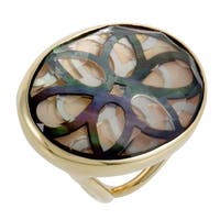 Polished Rock Candy  Yellow Gold Quartz and Mother of Pearl Cutout Ring
