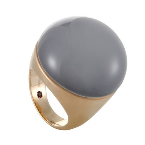 Roberto Coin Cocktail Womens Rose Gold Milk Paste Onyx Ring Size - 6.5